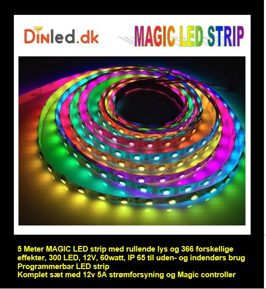 5 meter, 12 volt, 60 watt, 300 LED, MAGIC LED strip - WS2811 - KOMPLET SÆT