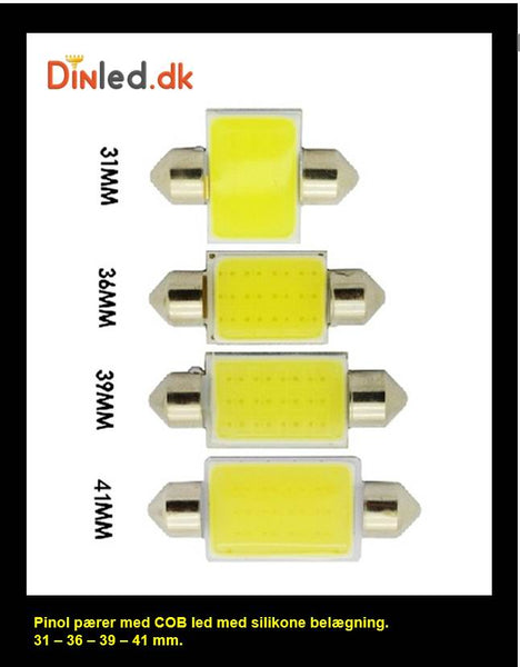 2 stk. LED pinol kabinelys 12 volt 31-36-39-41mm