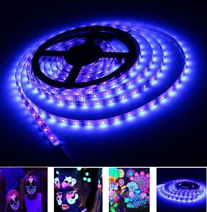 5 Meter, 12 volt, 30 watt, IP20  UV Led strip