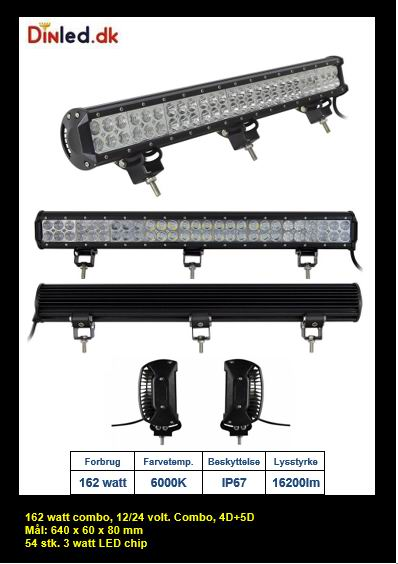 LED Lys bro / lys bar 162 watt 12/24 volt Combo