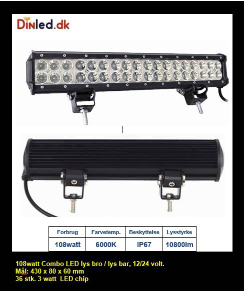 LED Lys bro / lys bar 108 watt 12/24 volt Combo