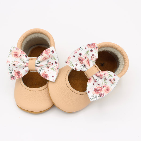 Baby Salmon/Floral Bow Mary Jane Moc - Posh Panda