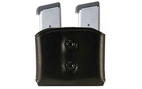 Double Mag Pouch .45/10mm Single Stack Metal Leather Black