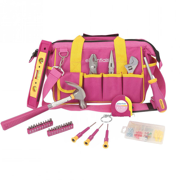 Great Neck 21043 32-Piece Essentials Around the House Tool Set in Pink Bag