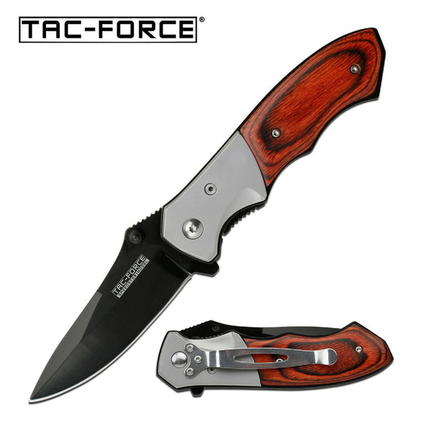 Tac-Force Assisted 3.0 in Blade Dark Pakkawood Handle