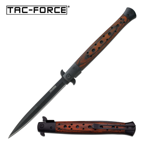 Tac-Force Assisted 5.5 in Blade Brown Pakkawood Handle