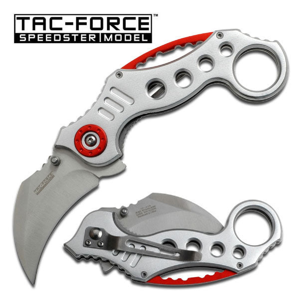 Tac-Force Karambit 2.5 in Blade Silver-Red Aluminum Handle