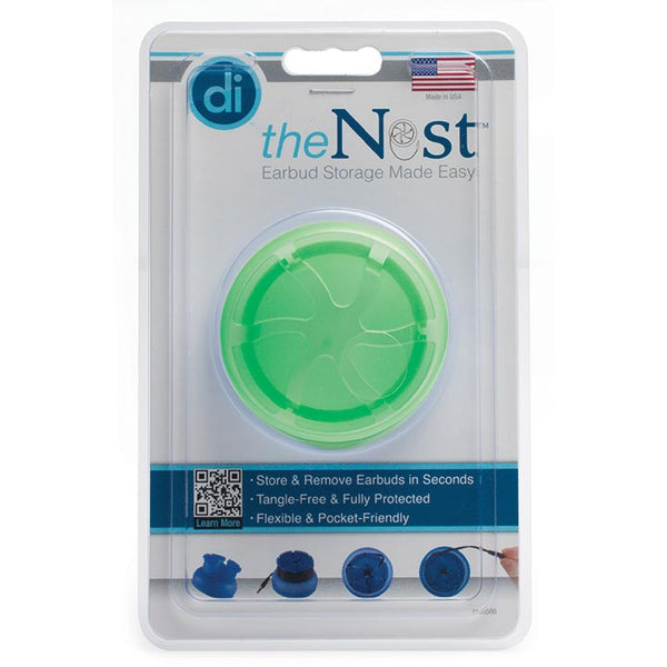 Digital Innovations The Nest TangleFree Earphone Earbud Case Durable Compact Storage System Green