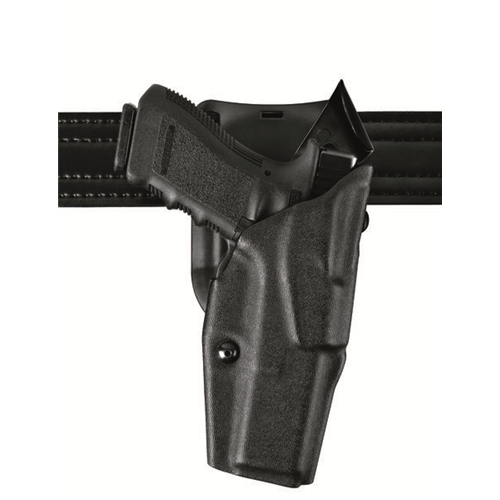 Purpose-built for the security of duty officers, the Safariland 6395 ALS open-top holster features the ALS (Automatic Locking System), an internal locking device that retains the weapon in all directions immediately upon holstering, with no straps or snaps to manipulate.