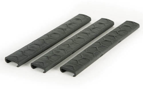 Hexmag AR-15 Low Profile Rail Covers 7 Slot KeyMod Wedgelok Polymer Black 4 Pack