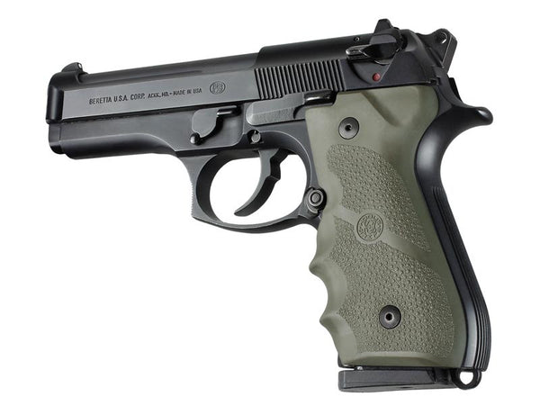 Hogue Beretta 92 96 Series Rubber GripFinger Grooves OD Green