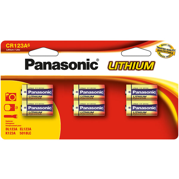 Panasonic CR123A 6-Pack Lithium