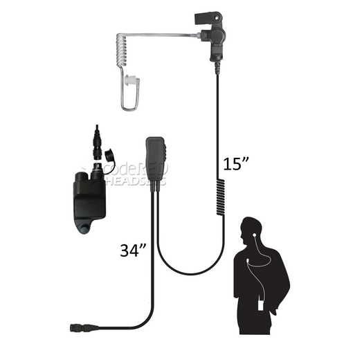 Sherlock-QD-MC1  Single Wire Mic with Acoustic Tube Earpiece and  Quick Release   connector and adapter for Harris/MaCom radios.
