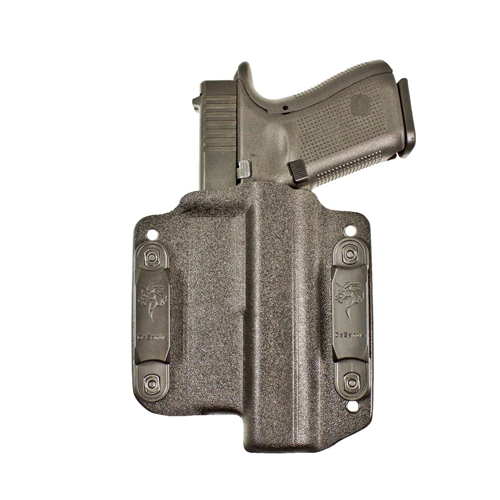 The Light Bearing Raptor® OWB/IWB concealment holster is fabricated from thermoformed Kydex® for Glock® pistols.