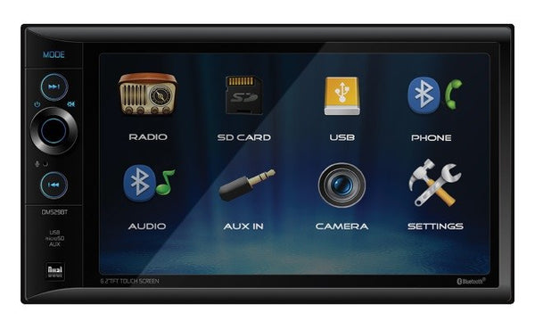 Dual Double Din 6.2 Inch LCD Screen w/Bluetooth  Mechless