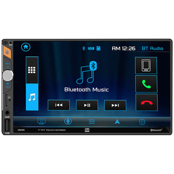 "Dual 7"" LCD Mechless Double Din BT USB/Micro SD Backup Cam Input"
