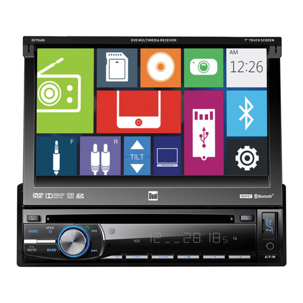 "Dual 7"" Single Din Receiver DVD/CD USB SD"