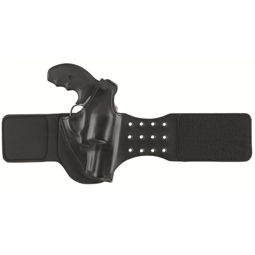 BootLock Ankle Holster for Bac  BootLock Ankle Holster for Backup Gun Black Finish Fits many 1.88 to 2.25 in. bbl small-frame double-action revolvers incl.; S&W 31, 34, 36, 37, 38, 40, 49, 60, 63, 317, 331, 332, 337, 342, 442, 632, 634, 637, 638, 640, 642, 649, 940; TAURUS 85, 85CH, 60