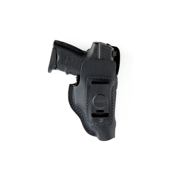 A reinforced top band around the holster mouth prevents the holster from collapsing and allows one-handed reholstering  The extra strength quick-on spring clip features a hook configuration for maximum retention, which prevents the holster from being draw