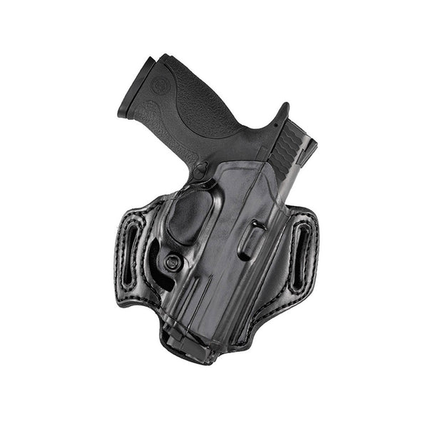 With a mid-ride and FBI forward cant, this leather holster model sits comfortably over the hip while allowing a natural draw  Features a sweat shield for protection and adjustable tension screw to adjust the ease of your draw  Molded belt slots slide easi