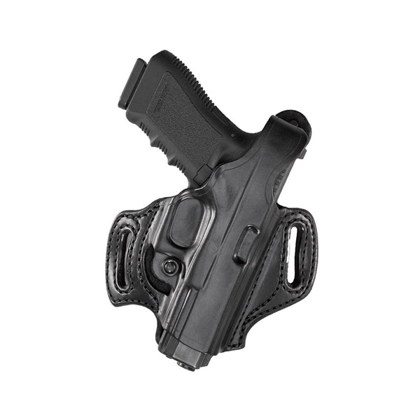 With a mid-ride and FBI forward cant, this leather gun holster model sits comfortably over the hip while allowing a natural draw  Features a Level I retention strap and adjustable tension screw to adjust the ease of your draw  Molded belt slots slide easi