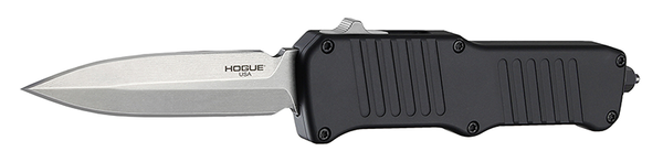 Contured aluminum handle with machined grooves to enhance grip  Prominent thumb slide instantly deploys and retracts the blade  Reversible, deep-carry clip for discreet pocket carry