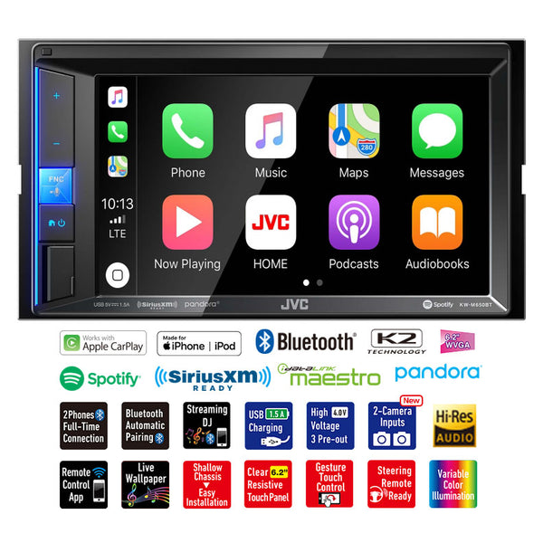 "JVC 6.2"" DDin Media Receiver touchscreen bluetooth carplay front usb"