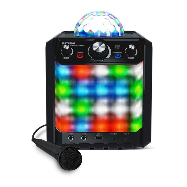 Ion Portable Speaker w/ Party Lights and Mic (Black) (PARTYROCKEREXBKXCA)