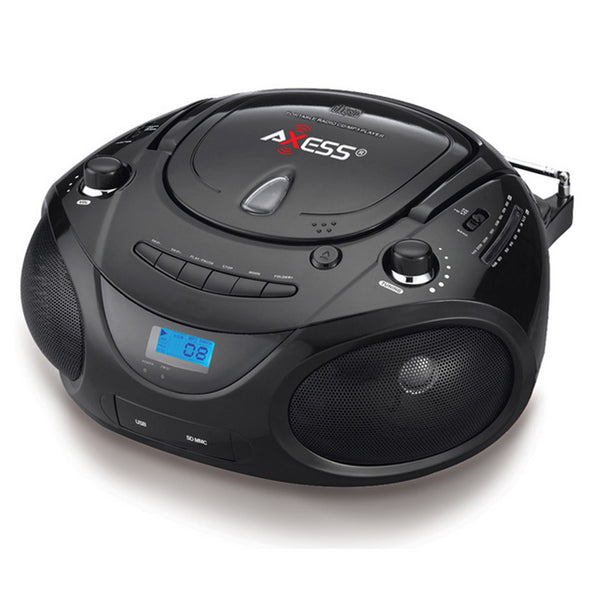 Axess Portable MP3/CD/USB/SD Boombox with AMFM Stereo Black