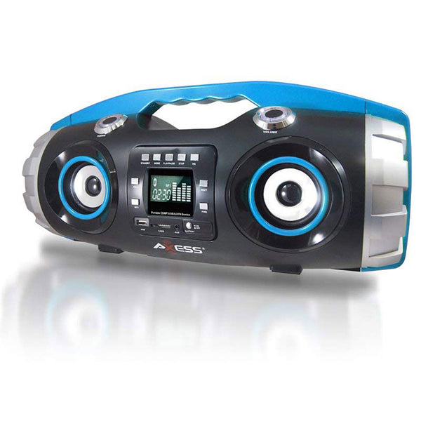 AXESS Portable Bluetooth FM Radio CD MP3 USB SD Heavy Bass Boombox Blue