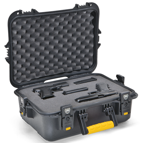 AW XL Pistol/Accessories Case w/ deluxe latches - Black w/ Yellow