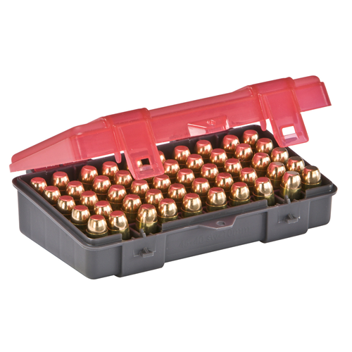 Handgun Ammo Case holds 50 rounds of .45 ACP, .40 S&W and 10mm Caliber Bullets