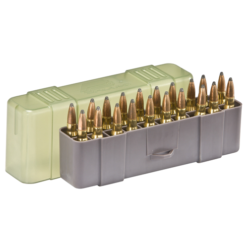 Medium Rifle Ammo Case holds 20 rounds of .220 Swift, .243 Win., .257 Roberts, .270 WSM, .300 WSM, .243 Win., .308 Win., .35 Rem, .444 Marlin, .45-70 Gov, and 7mm-08 Caliber Bullets