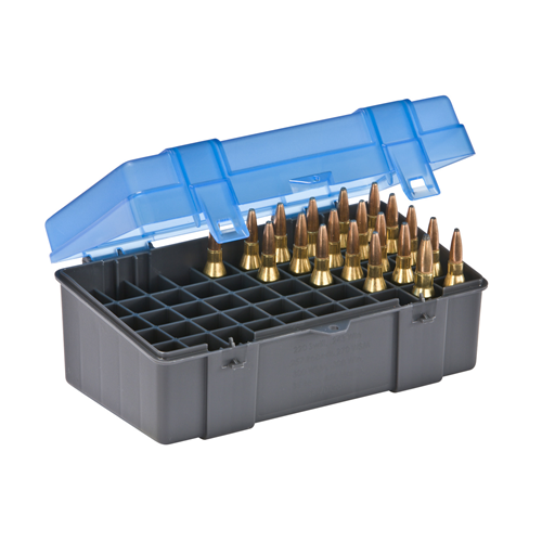 Medium Rifle Ammo Case holds 50 rounds of .220 Swift, .243 Win., .257 Roberts, .270 WSM, .300 WSM, .243 Win., .308 Win., .35 Rem, .444 Marlin, .45-70 Gov, and 7mm-08 Caliber Bullets