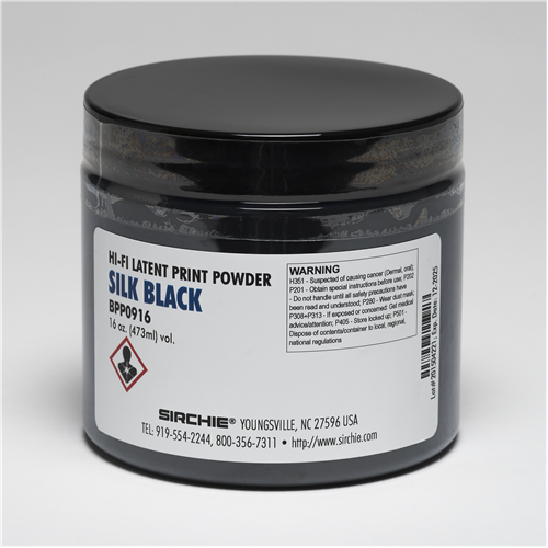 Sirchie - Volcano Latent Print Powder, Silk Black, 16oz.