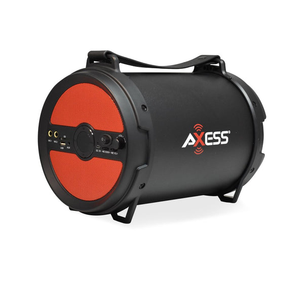 "AXESS Portable Bluetooth 2.1 Hi-Fi Cylinder Loud Speaker Built-In 6"" Sub Red"