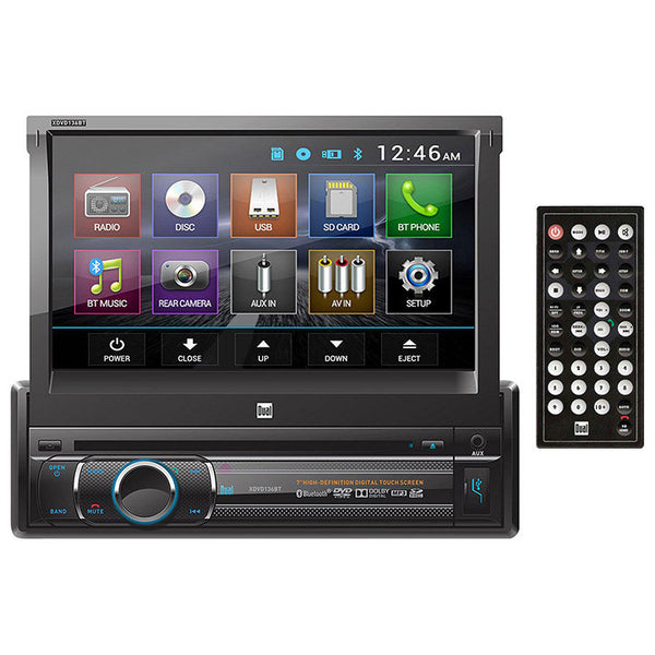 DUAL BLUETOOTH 7 INCH MOTORIZED TOUCH SCREEN DVD/CD/MP3/AM/FM FRONT 1A USB