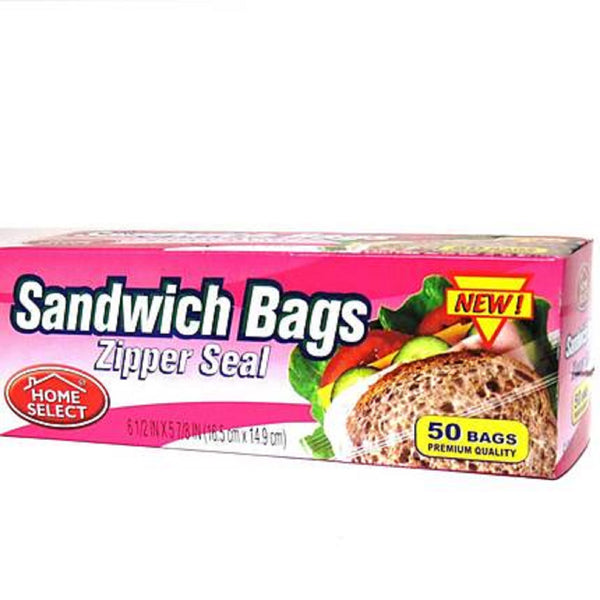 Home Select Snack Bags-Zipper Seal 50 Ct