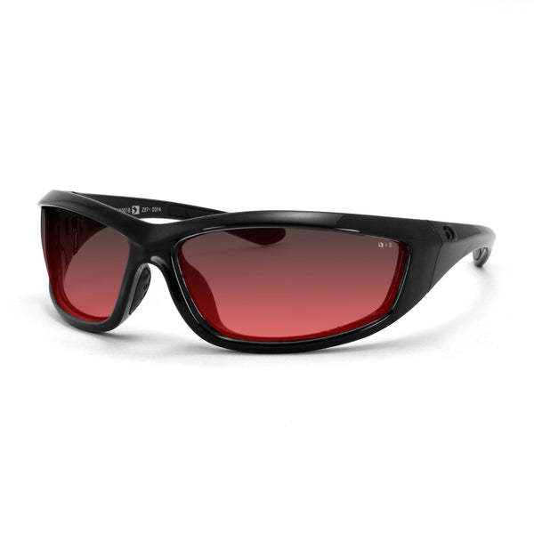 Bobster Charger ANSI Z87 Sunglass-Black Frame/Rose Lenses