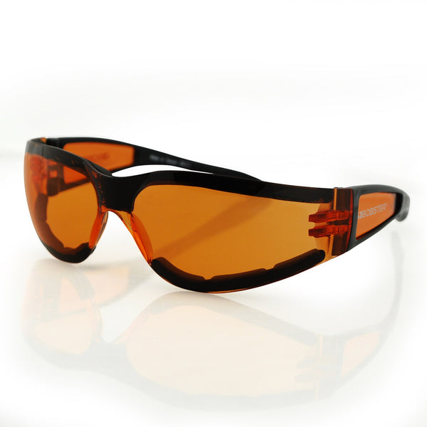 Bobster Shield II Sunglass, Black Frame, Amber Lens