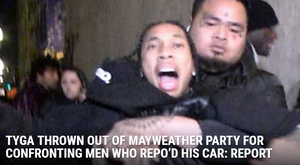 Tyga Threaten A Group Of Men Over A Maybach Before Being Dragged Out Of Floyd Mayweather's Party!