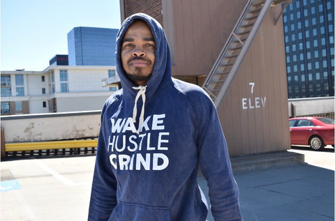 Wake Hustle Grind 2 sided Print Navy Champion Hoodie - WHGHOLLYWOOD