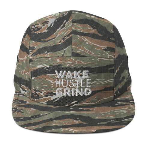WAKE HUSTLE GRIND CAMO  Five Panel Cap - WHGHOLLYWOOD
