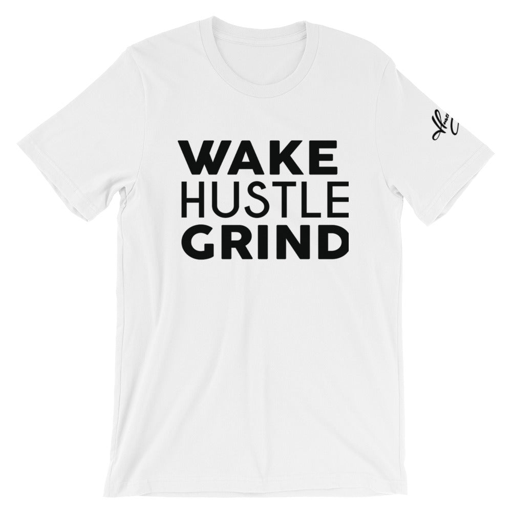 Wake Hustle Grind White Fitted - WHGHOLLYWOOD