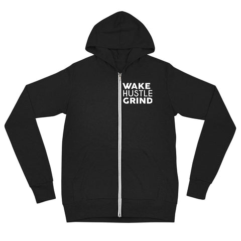 Wake Hustle Grind Zip Hoodie Black - WHGHOLLYWOOD