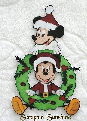 DISNEY CHRISTMAS MICKEY MINNIE WREATH Printed Scrapbook Page Paper Piece