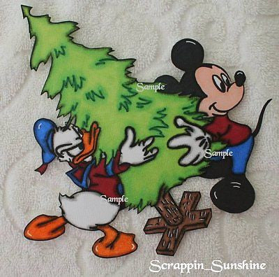 DISNEY Christmas Tree w/ Mickey & Donald - Printed Scrapbook Paper Piece