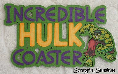 UNIVERSAL Islands Adventure INCREDIBLE HULK Coaster Die Cut Title Paper Piece
