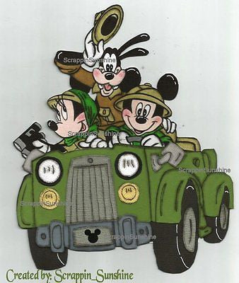 DISNEY SAFARI GANG in Jeep- Printed Paper Piece for Scrapbook Pages - SSFFDeb