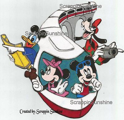 DISNEY -   Monorail Gang Printed Premade Scrapbook Page Paper Piece